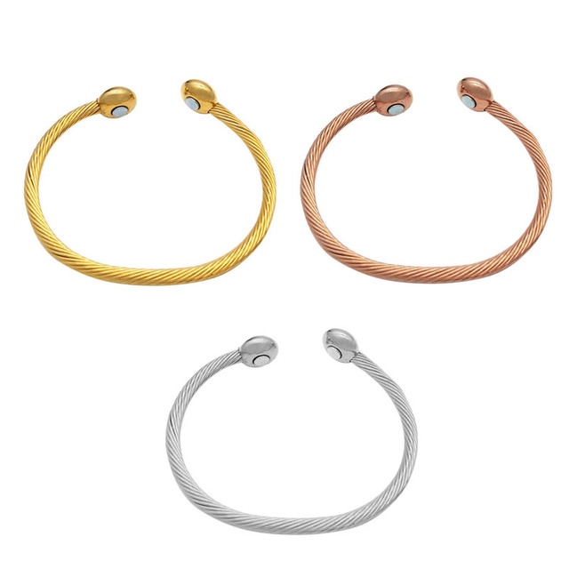 New Copper Bracelet Magnetic Healing Therapy Bangle Arthritis Pain Relief Twisted Gold Silver Rose