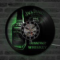 A Bottle of Whiskey CD Wall Clock LED Lighting Modern Design Classic CD Clocks Antique Style Vinyl Record Wall Watch Home Decor