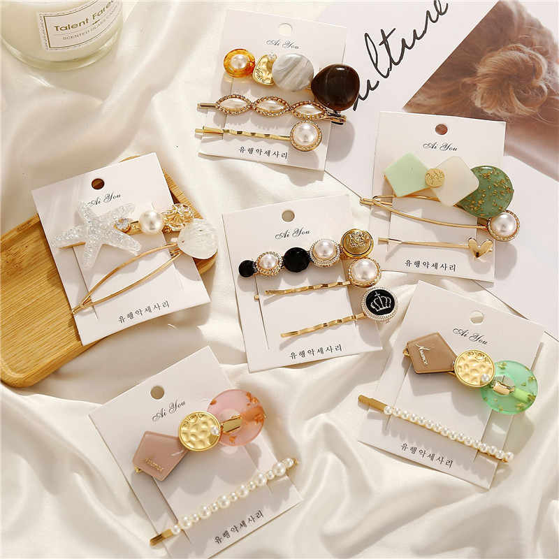 Modyle 3pcs/set Fashion Korea Metal Gold Epoxy Acrylic Pearl Hair Clips for women hairpin Hair Accessories