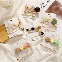 Modyle 3pcs/set Fashion Korea Metal Gold Epoxy Acrylic Pearl Hair Clips for women hairpin Hair Accessories(China)