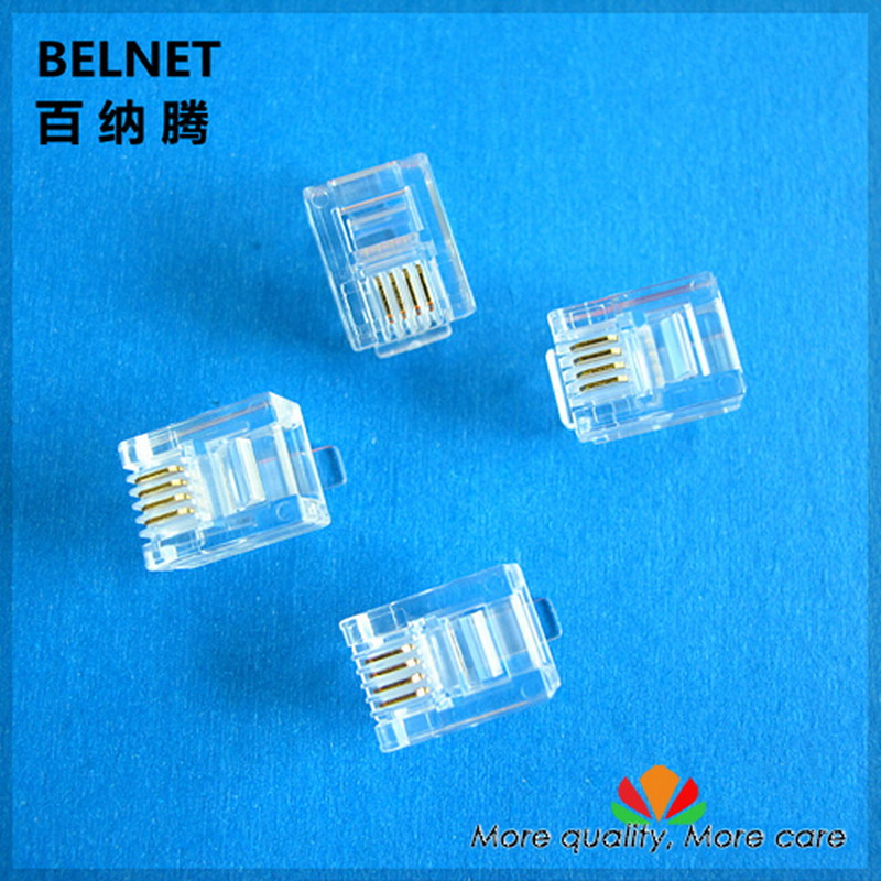 BELNET genuine 6P4C phone RJ11 crystal head high quality universal 4-pin modular connector gold-plated copper 100pcs/lot
