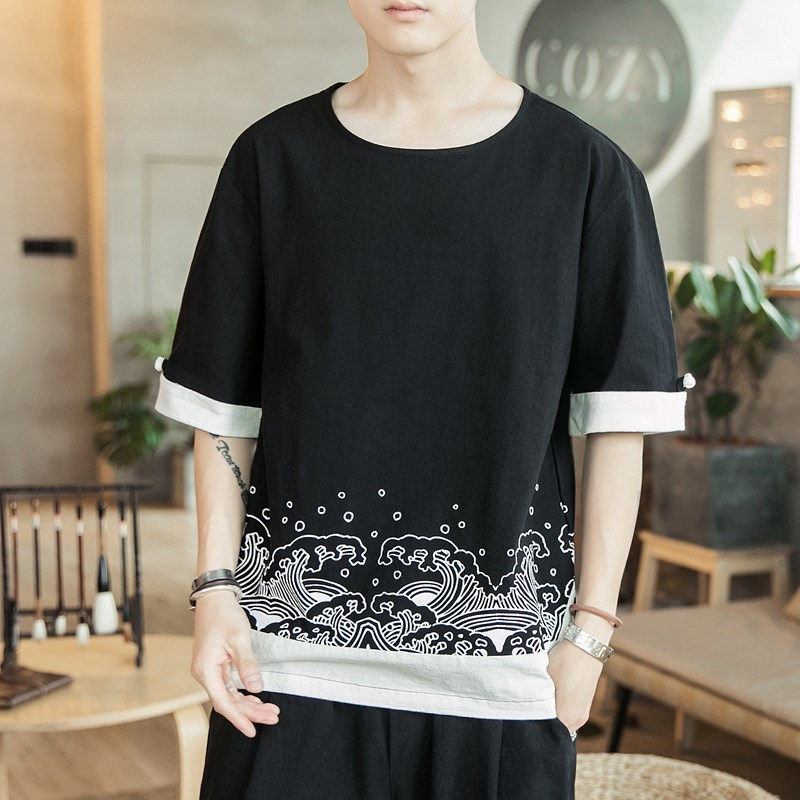 Chinese style linen short sleeve Men's 2019 summer new large size loose cotton clothes t shirt streetwear tops Thin hip hop