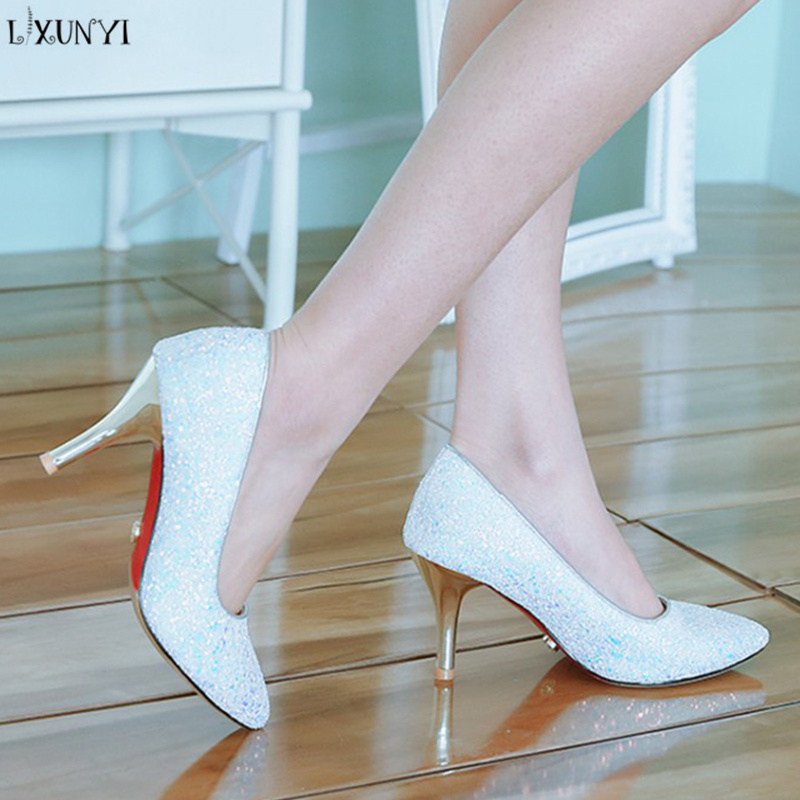 LXUNYI Sequined Women Shoes 8 Cm Thin Heel High Heels Mixed Colors Pointed Toe Ladies Pumps Plus Size 32-47 Casual Shoes 2018