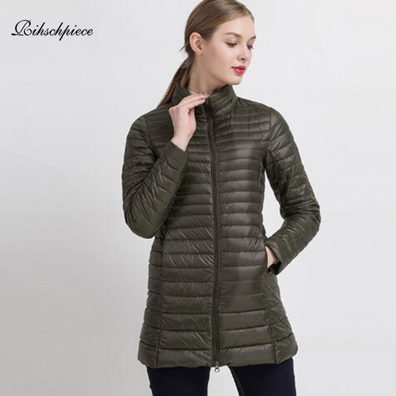 Rihschpiece 2018 Spring Plus Size 4XL Duck   Down   Jacket Women Ultra Light Long Puffer Jackets Winter   Down     Coat   RZF1453