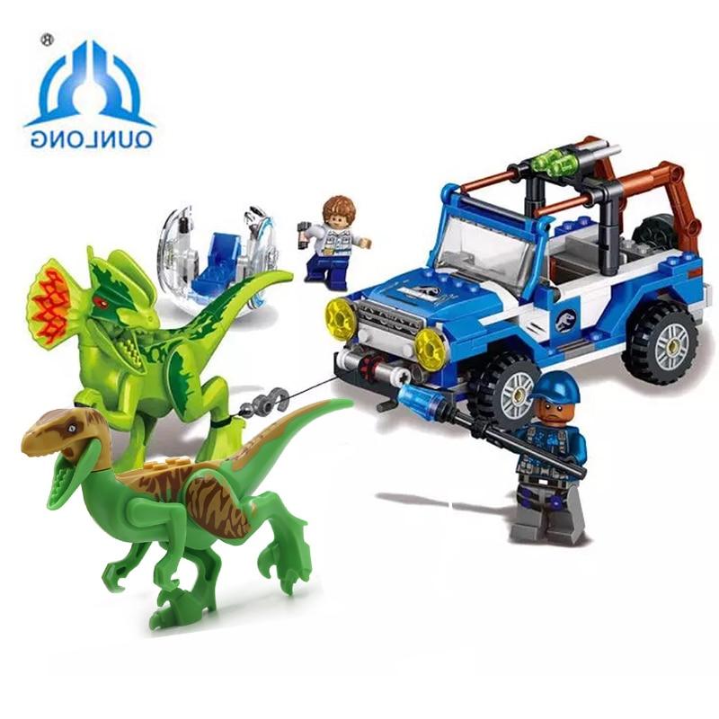 New Jurassic World Dinosaur with Chariot soldiermodel DIY Building Blocks sets Compatible LegoINGlys lepine Children Blocks Toys цена