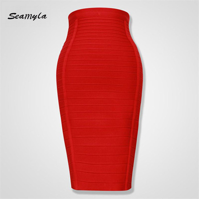 Seamyla 2019 Pencil Skirts Women Red Blue Black Orange Bodycon Bandage Skirt Sexy Knee Length Striped Midi Skirt Club High Waist