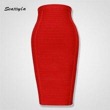 Seamyla 2019 Pencil Skirts Women Red Blue Black Orange Bodycon Bandage Skirt Sexy Knee Length Striped Midi Skirt Club High Waist