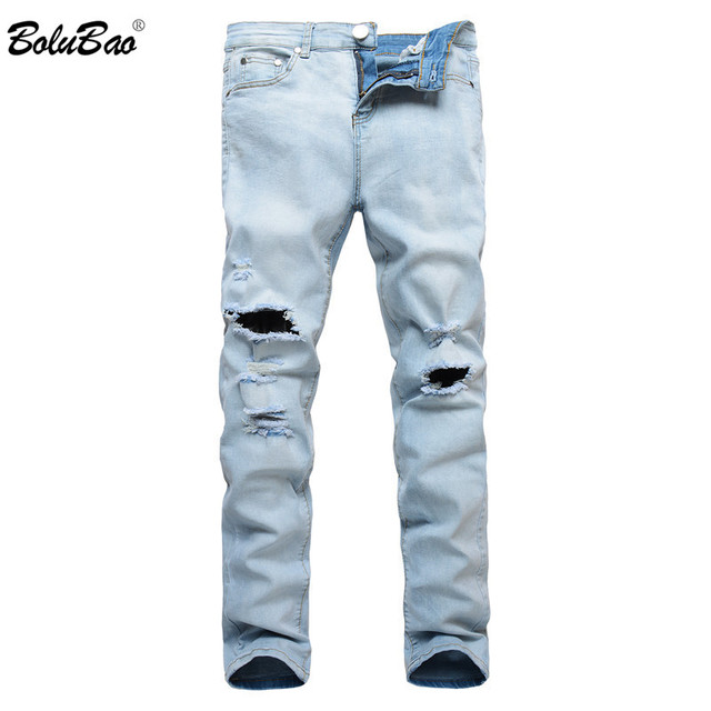 13e691abdb3c7 BOLUBAO 2018 New High Street Fashion Men Jeans Light Blue Color Denim  Ripped Jeans Men Skinny Distressed Designer Pants Joggers