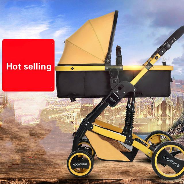 Tipo de prueba de choque carro plegable paraguas coche cochecito de bebé puede sentarse mentira cochecito bidireccional
