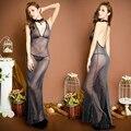 Las mujeres de Señora Sexy Correa Del Halter Vestido Largo Opacidad Backless Noche de Verano Negro