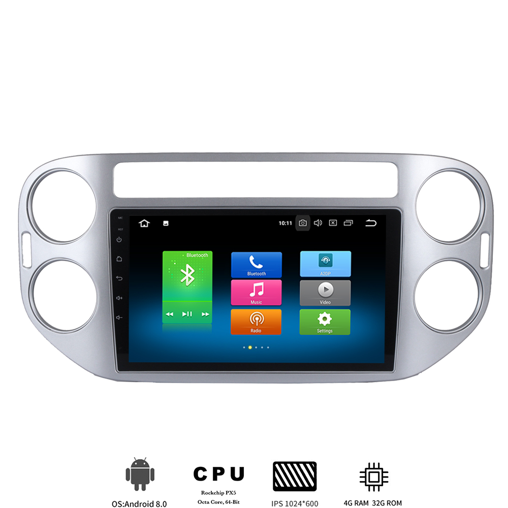 9 ips Android 8.0 Car radio for Volkswagen VW Tiguan 2010-2015 Multimedia player with Octa core 4GB+32GB Auto Stereo Wifi BT image