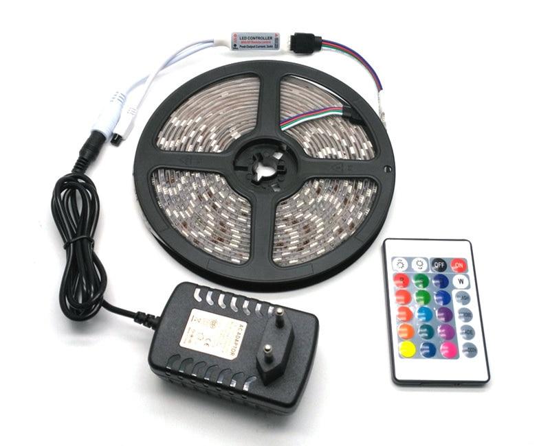 IP65 vandeniui atsparus 5050 RGB 5M LED juostų rinkinys + 24Keys IR - LED Apšvietimas - Nuotrauka 1