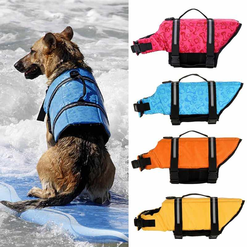 Pet Dog Life Jacket Bones Patterns Safety Clothes Life Vest Harness Saver Pet Dog Swimming Preserver Clothes Summer Swimwer