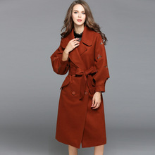 YQM Double breasted embroidery loose wool coats 2017 new brand runway top quality women winter coats fashion plus size wool coat