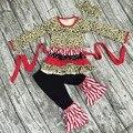 Otoño/invierno juego del bebé niños boutique remake que arropan algodón niñas Leopard ruffle pant damasco faja con diadema a juego