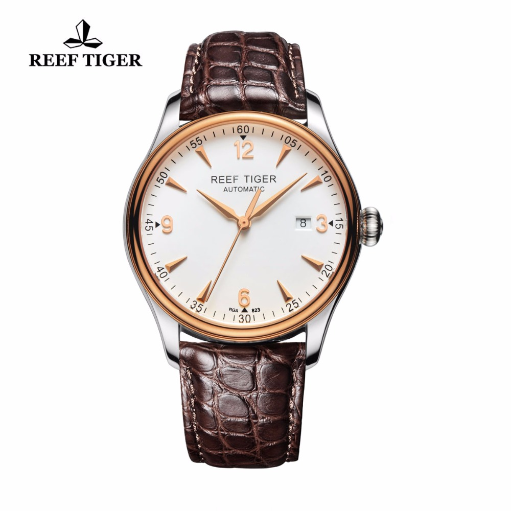 Reef Tiger/RT Watches Men Casual Automatic Watches with Date and Alligator Leather Strap Automatic Watches RGA823 мужской костюм для косплея love ya cosplay cos