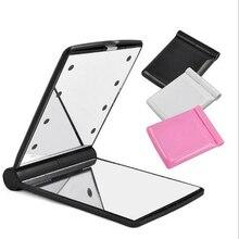 10 шт. высокое качество женское косметическое зеркало Косметический Складной Портативный Компактный карман с 8 светодиодный осветительный прибор хороший