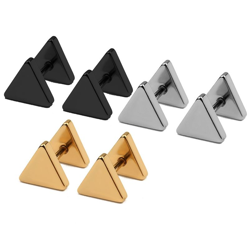 1Pair New Fashion Punk Black Silver Gold Color Western Geometric Triangle Stud Earrings For Women Girls Gifts Jewelry Orecchini