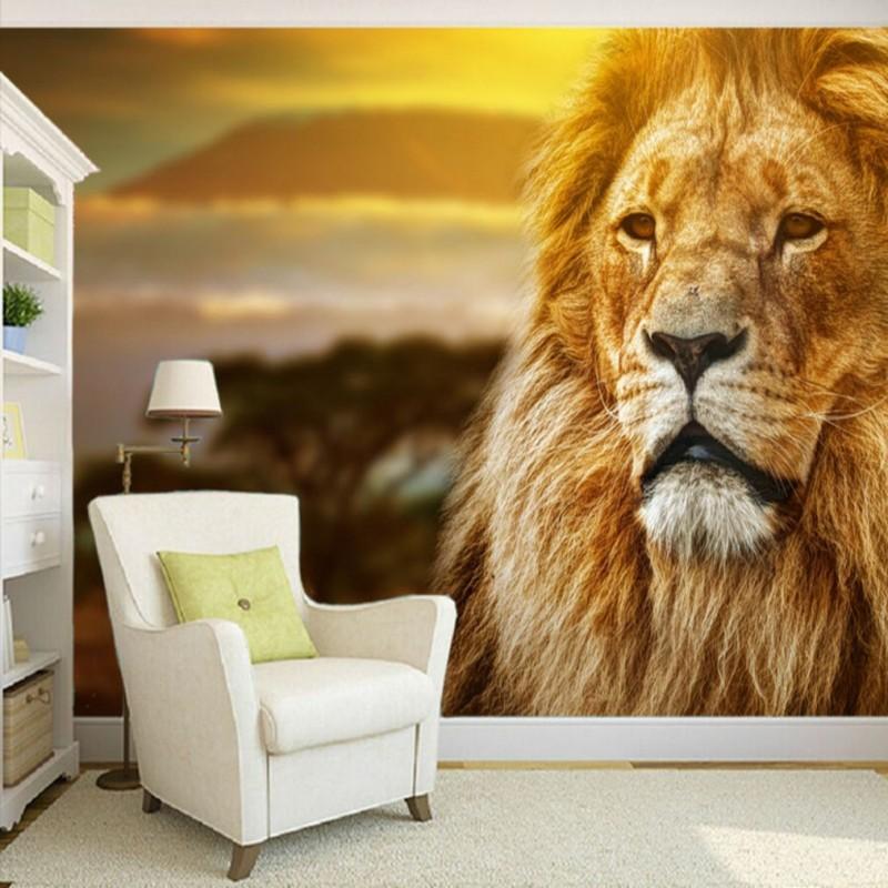 Dropship Colomac niestandardowe zdjęcie tapety piękne użytki zielone ściana z lwem Mural 3d tapety malowidła sypialnia Fototapeta nowocasna