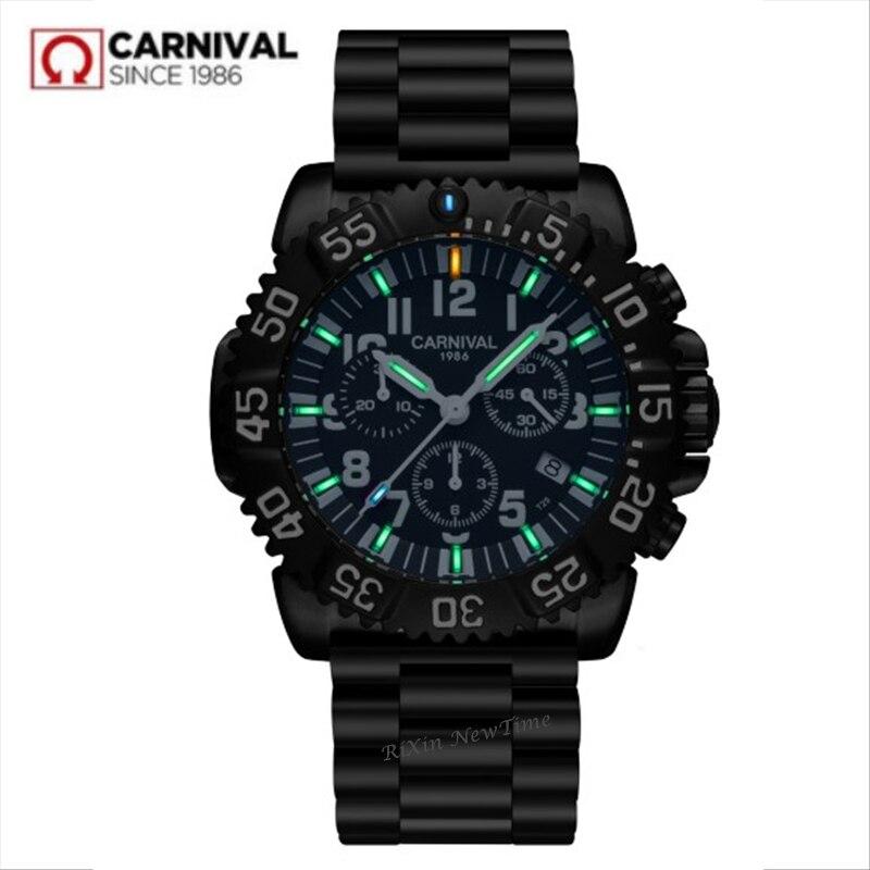2018 luksusowa marka SwitzerlandRonda chronograf stop zegarek mężczyźni tryt świecenia kwarcowy mężczyźni zegarki zegar wodoodporny reloj relogio w Zegarki kwarcowe od Zegarki na  Grupa 1