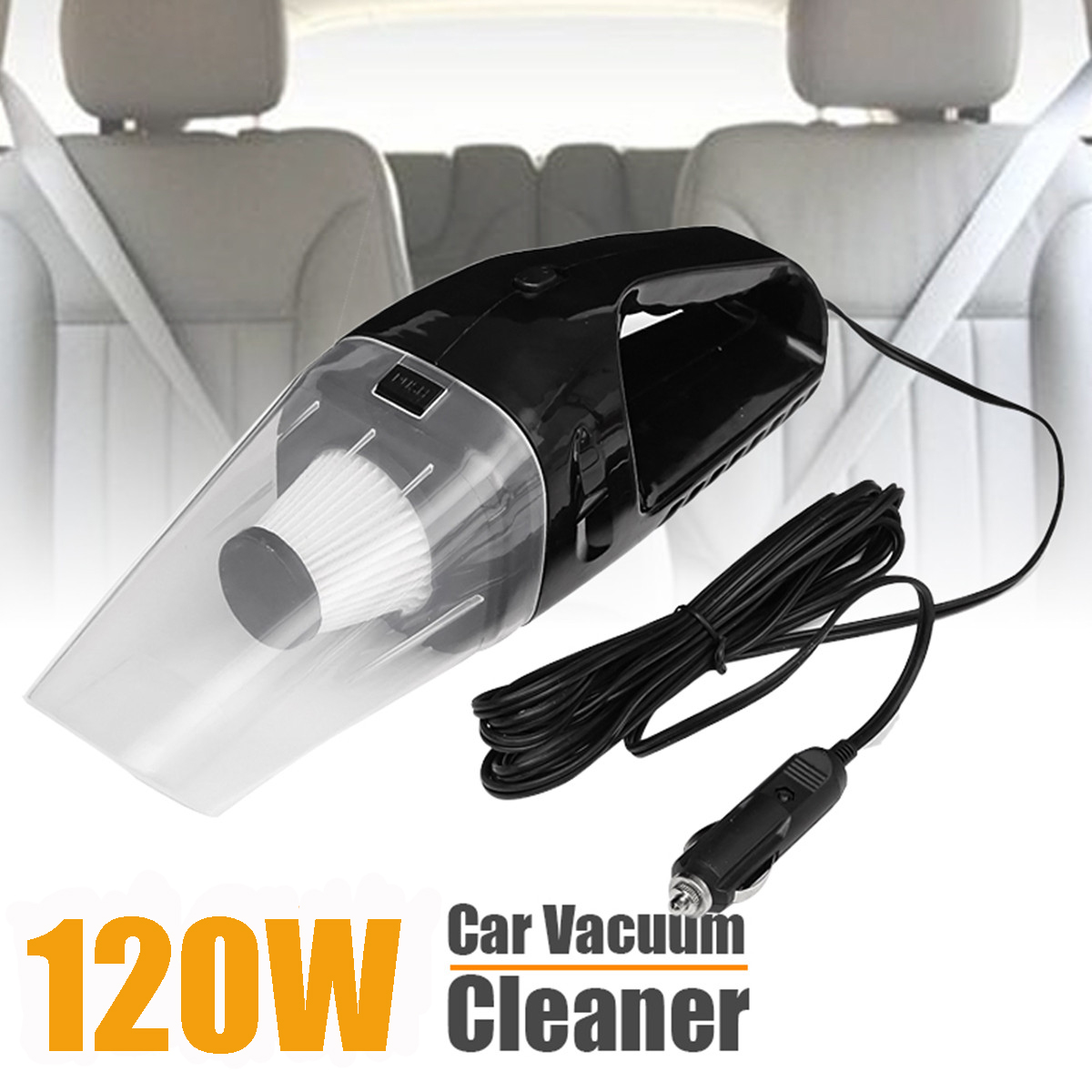 Car Vacuum Cleaner 120W 12V Portable Handheld Mini Vacuum Cleaner Super Suction Auto Wet Dry Dual Use Duster 2018 car vacuum cleaner 90w 2800pa mini portable cordless handheld auto vacuum cleaner dust suction collector dry wet dual use