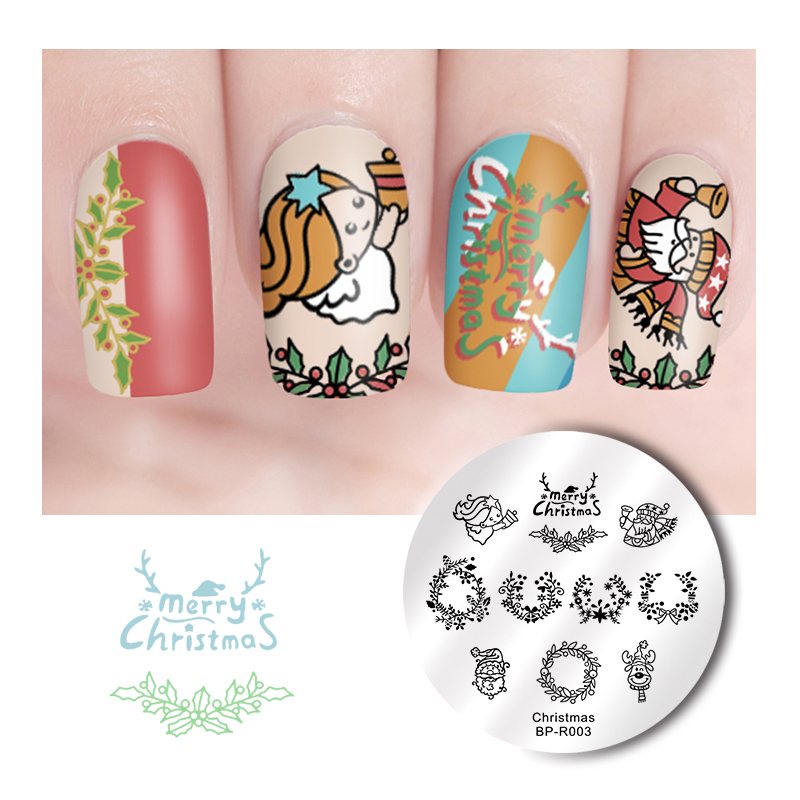 Image 3 - BORN PRETTY Christmas Snow Nail Stamping Plate  Balls Deer Round Template Nail Art Stamp Plate-in Nail Art Templates from Beauty & Health