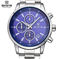 SKONE Chronograph Brand Fashion Men's Blue Multifunction Dial Watches for Male Luxury Silver Stainless Steel Strap Wristwatches