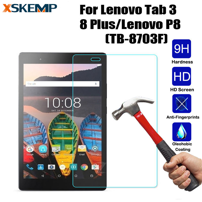 For Lenovo Tab 3 8 Plus/Lenovo P8(TB-8703F) Tablet Anti-Scratch No Fingerprint Tempered Glass Screen Protector Protective Film