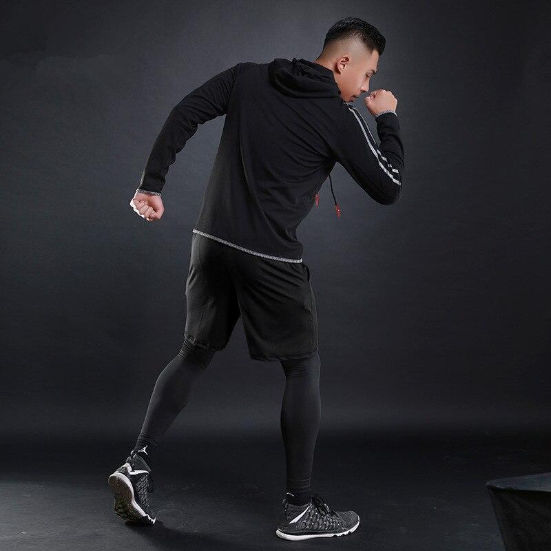Otoño Invierno conjuntos de correr para hombres 5 uds. De compresión Fitness deportes trajes de baloncesto mallas ropa con capucha gimnasio Jogging chándales - 5