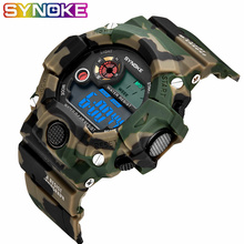 SYNOKE Relogio Masculino Military Multi Function Sports Watches Color Alarm LED Digital Dual Movement WristWatch Back