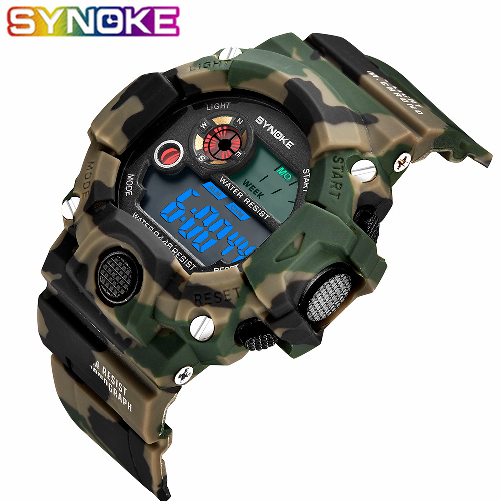 SYNOKE Relogio Masculino Military Multi Function Sports font b Watches b font Color Alarm LED Digital