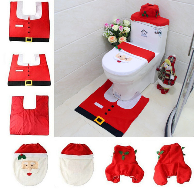 30sets 3 In 1 Christmas Day Products Supplies Decorations Items Santa Claus Toilet Seat Cover Rug