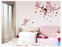 Sell like hot cakes with the monkey branches of the sitting room the bedroom wall stickers household adornment wall stickers tanie tanio Furniture Stickers For Refrigerator For Wall Single-piece Package M17020 cartoon ZOOYOO Plane Wall Sticker 50*70 living room bedroom study room kids room etc