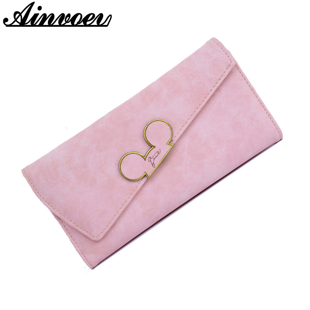 Ainvoev Fashion Long Women PU Leather Wallet Hit Color Ladies Wallet Creative Design Hasp Clutch Coin Pocket Card Holder Mickey maihui ladies cowhide long genuine leather wallet women with coin pocket card holder wallet national hasp purse note compartment