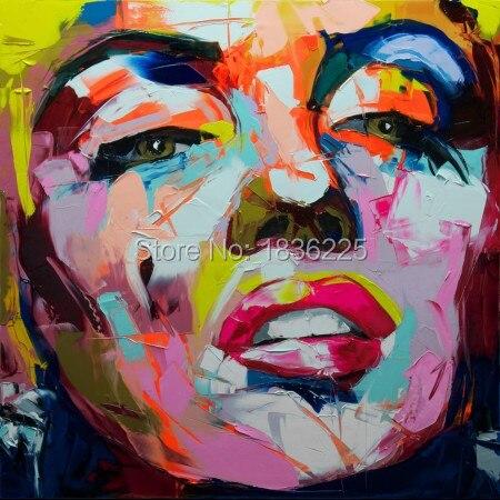 Nielly Francoise Pittura a Olio Pop Art Marilyn Monroe Kinfe Faccia Moderna della Tela di canapa Pittura dipinta A mano di Arte Della Parete Ragazze Decor