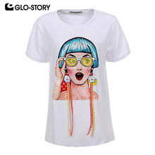 GLO-STORY Women 2018 Hip Hop Fashion Short Sleeve Summer T-shirts Woman Painting Girl Tape Earring Loose Cotton Tshirt