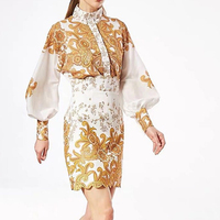 HIGH STREET New Stylish 2019 Runway Suit Set Women's Lantern Sleeve Floral Print Blouse Skirt Set