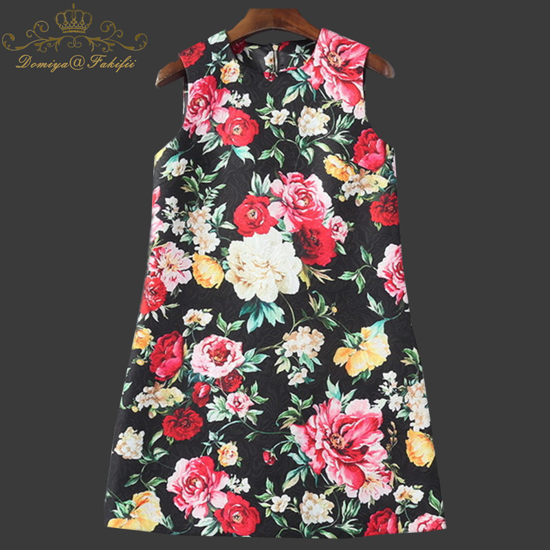 2018 Plus Size Women Clothing Spring Fashion Flower Print Dress Ladies Sleeveless Casual Autumn Dresses Clothing Family Clothes free shipping new fashion plus size s l stretch velour dresses for women long maxi one piece dress spring autumn velvet hoodies