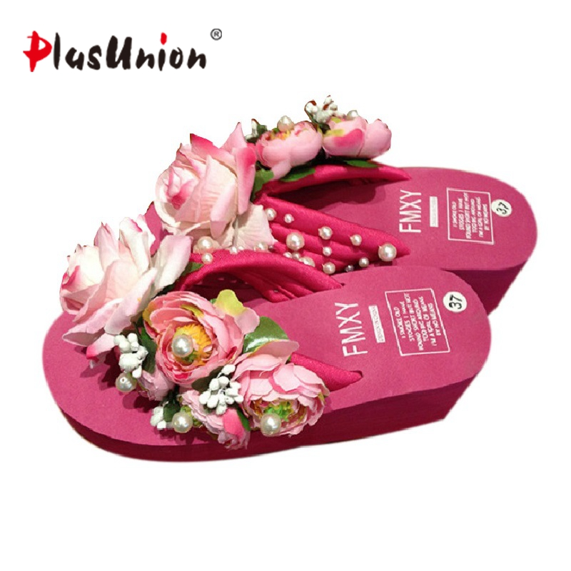 Summer Rose Floral and Beading Beach Wedges Flip Flops Women'S - Kasut wanita