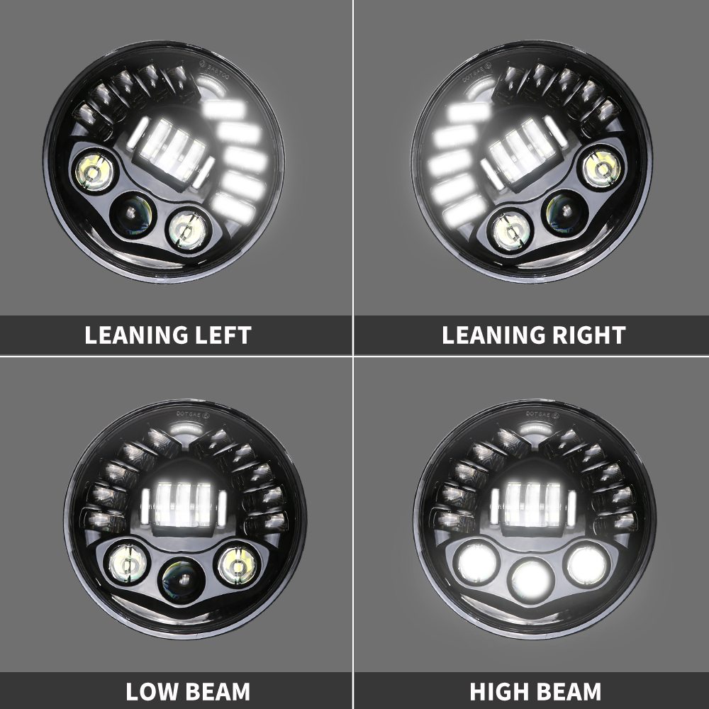 For Harley Yamaha 7 Motorcycle Adaptive Projector Daymaker Headlight LED Light (6)