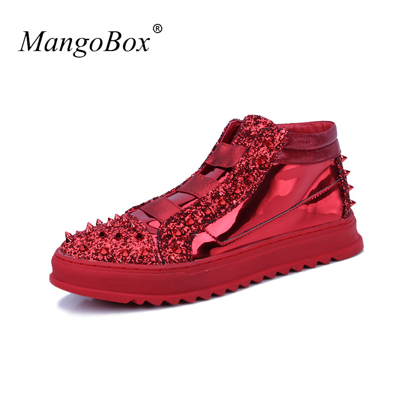 Brand Designer High Top Mens Shoes Casual Young Boy Nightclub Fashion Boots Silver Red Male Footwear Rubber Soles Casual Shoes artigli юбка для девочки a07585 чёрный artigli