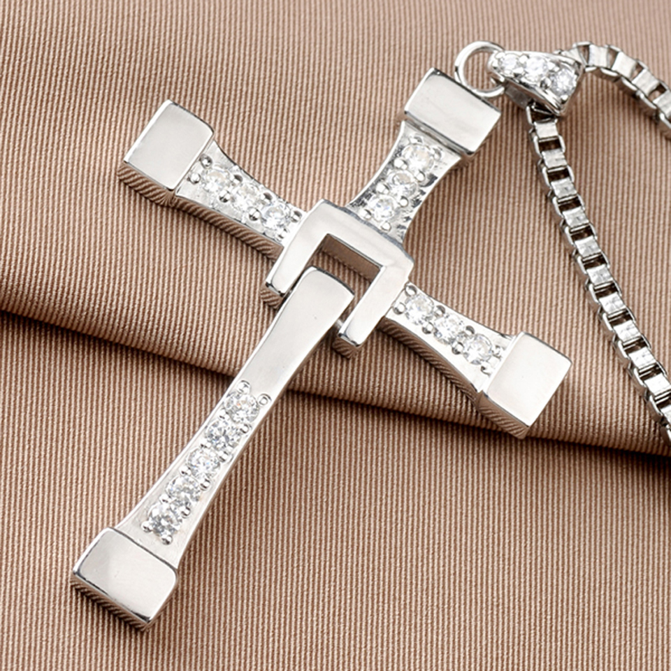 The Fast And Furious 8 Vin Diesel Dominic Toretto Real 925 Sterling Silver Cross Pendant Necklaces