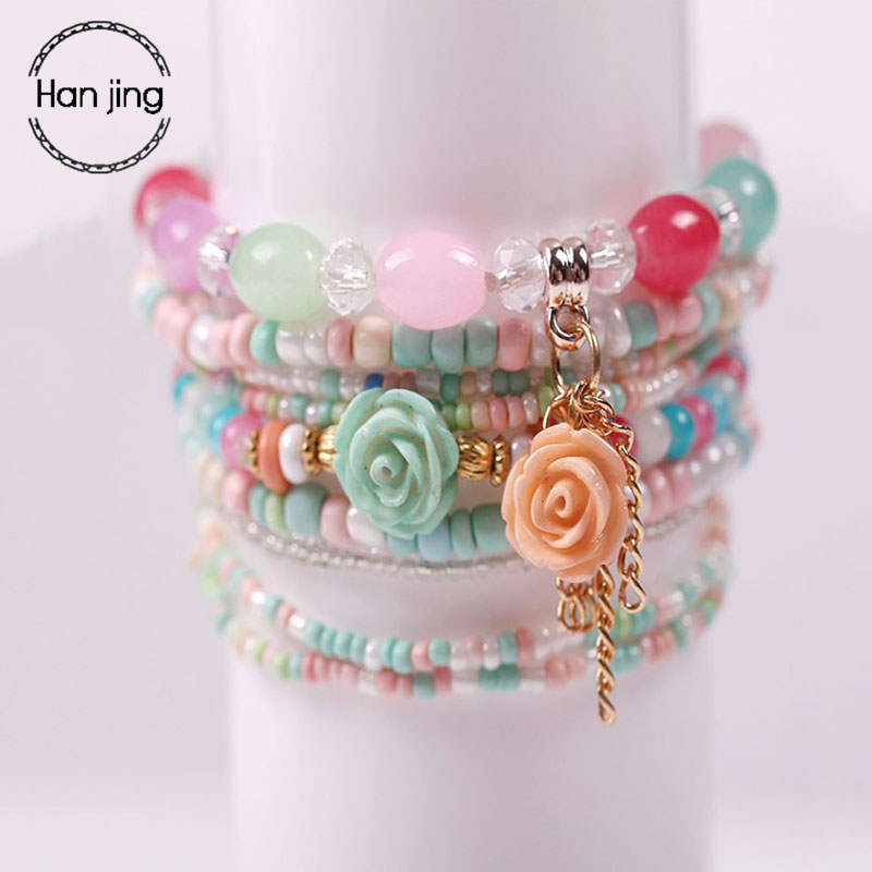 Multilayer Candy Color Crystal Beads Bracelets Set For Women Wedding Jewelry Boho DIY Tassel Flower Charm Bracelet Girls Gift