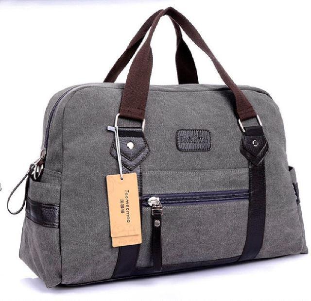 British USA retro canvas shoulder bag men women large hand travelling bag luggage CNAVAS + LEATHER travel bag large capacity