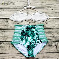 ZTVitality Newest 2017 Women Summer Beach Sexy Hollow Out Halter High Waist Knitting Printed Bikini Swimsuit