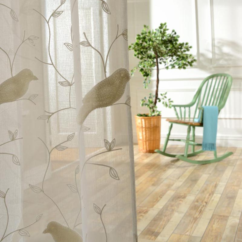 Bird Pattern 3D Embroidery Rustic Style Curtains For Balcony Living Room Sheer Tulle Kitchen
