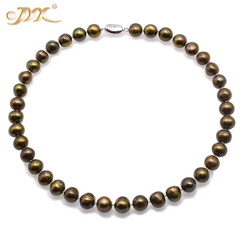 JYX 2018 bijoux collier de perles ensemble 11-12mm plat rond vert-marron eau douce culture collier de perles Bracelet ensemble de bijoux