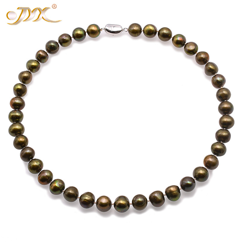 JYX 2018 jewelry pearl Necklace Set 11-12mm Flat Round Green-Brown Freshwater Cultured Pearl Necklace Bracelet Jewelry SetJYX 2018 jewelry pearl Necklace Set 11-12mm Flat Round Green-Brown Freshwater Cultured Pearl Necklace Bracelet Jewelry Set