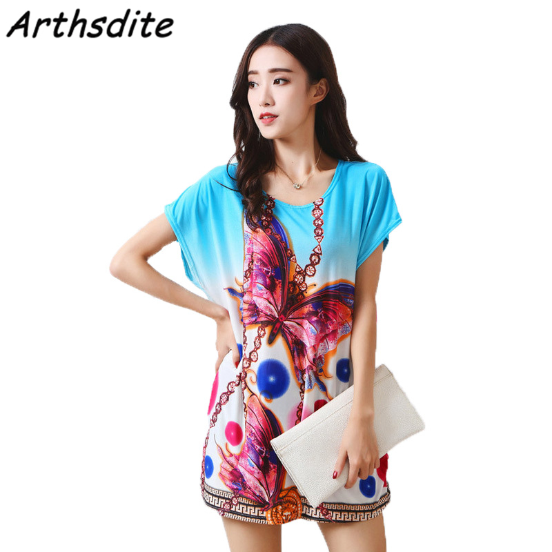 Arthsdite 2018 Retro Summer Dress Plus Size Casual Loose Floral Print Party Beach  Dresses Tunic Bohemian Vestidos Women Clothing-in Dresses from Women s ... b77b06813df2