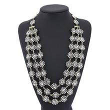 Для женщин модная обувь, украшенная стразами заявление на длинной цепочке Цепочки и ожерелья 3 многослойное Винтаж цветок Цепочки и ожерелья s кулон для Для женщин Свадебные украшения